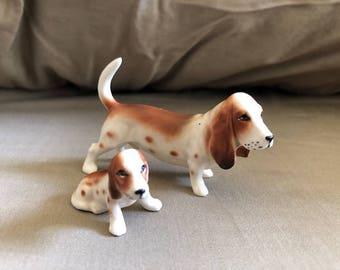 Vintage Pair of Porcelain Miniature Basset Hounds