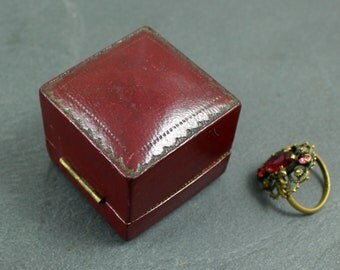 Antique ring box dark red leather, silk and velvet lined engagement or wedding ring presentation box, H Harrison & Son, Catford London