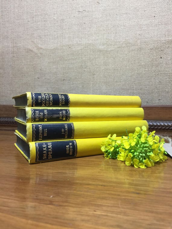 YELLOW VINTAGE BOOK stack - Old Books Decoration - Interior Design Shelf Staging - Yellow Home Decor - Vintage Sourced Books - Yellow Decor