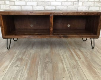 Special walnut colored, double section entertainment center, reclaimed wood, console table, entertainment stand, up-cycled wood, handcrafted