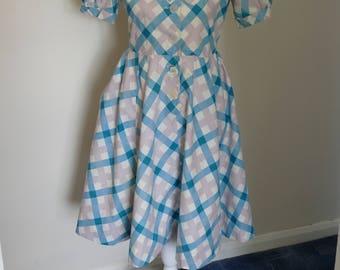 Delightful, Original 1950's Cotton Day Dress. Pretty as a Picture!