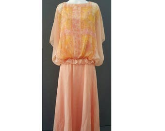 Stunning 70s designer Jean Varon maxi dress