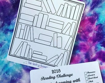 2018 Colour in reading book challenge with review Currently Reading Planner stickers , great to use bujo tn eclp Planner Book challenge