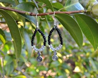 Beaded Black & Clear Spiral Loop Earrings