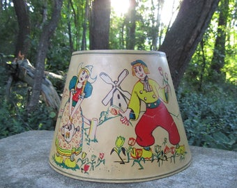 """Vintage Lamp Shade """"Dutch"""" """"Windmill"""" """"Kitschy"""" Woman and Man in Tulip Garden """"Holland"""" Romance Shabby Chic Retro Art Whimsical Characters"""