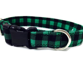 Green buffalo plaid dog collar,Green and black plaid dog collar, small dog collar, Christmas plaid dog collar, buffalo plaid dog collar,