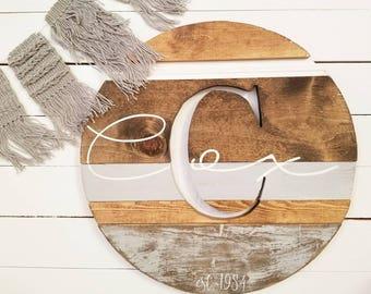 Wood Monogram round