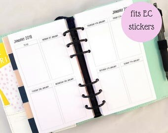 Personal Size Week on Two pages Printed planner inserts   WO2P   EC width boxes   weekly planner refill   for medium kikki k filofax etc