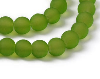 """Frosted Green 6mm Round Glass Beads (30"""" Strand)"""