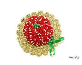 Crochet Christmas Pincushion, Handmade Pincushion, Sewing accessories, Puntaspilli Natale
