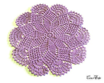 Small Purple crochet doily, centrino piccolo lilla all'uncinetto