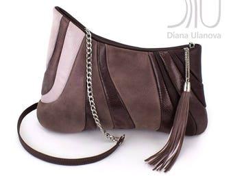 Leather EVENING BAG | Leather CLUTCH Bag | Evening Bag Leather | Clutch Bag Leather | Brown Leather Clutch Bag | Brown Clutch Sputnik