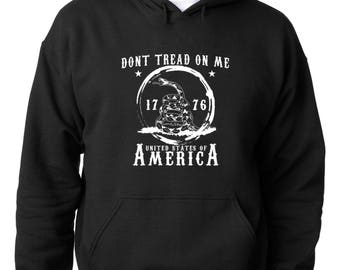 HOODIEDon't Tread On Me 1776 Hoodie Gadsden Flag Tea Party Sweatshirt
