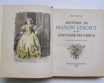 Vintage Manon Lescaut book / book Abbé Prévost, Manon Lescaut and the Knight of the Grieux /antiquityfrench/ leather hardcover book story