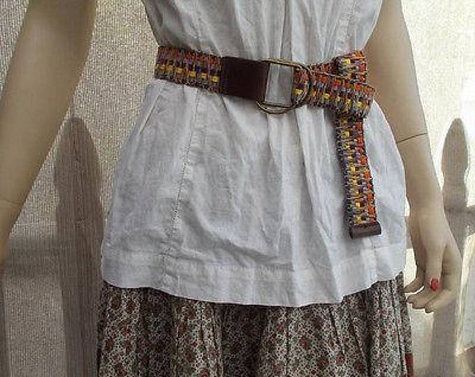 Vintage 80s Boho Hippie Chic Brown Bright Rainbow Polyester Woven Womens Hipster Belt