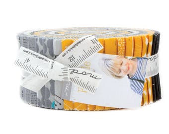 """Moda FRAGILE Jelly Roll 1630JR 40 2.5"""" Quilt Fabric Strips By Zen Chic"""