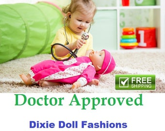 "Dixie-crafted Fashions made to fit 18"" and 14.5"" Dolls including those from the American Girl Doll Clothes Company"