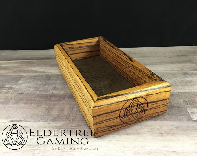 Premium Dice Tray - Personal Sized - Zebrawood with Felt or Leather Rolling Surface - Eldertree Gaming