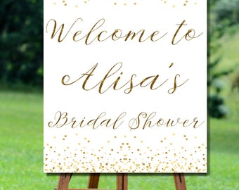 Bridal Shower Welcome Sign, Bridal Shower Sign, Gold Confetti Bridal Shower Sign, Bridal Shower Welcome Sign, Bridal Shower Welcome Sign