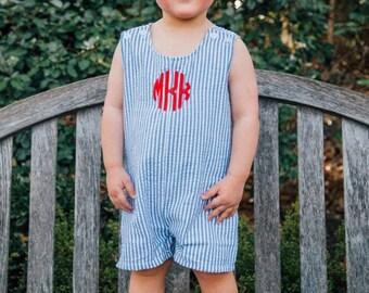Baby boy Jon Jon; Seersucker bodysuit; boy seersucker jon jon; baby boy outfit; Jon jons for infants; Monogrammed boys jon jon; Seersucker