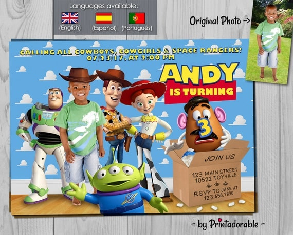 Toy Story Invitation - Woody, Buzz Lightyear and Jessie Birthday Invites - Customizable with Photo - Disney and Pixar Digital Invites