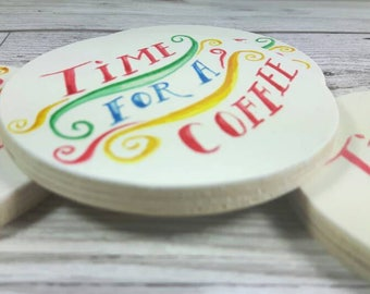 "Watercolour Lettering ""Time for a Coffee"" Coasters, Set of 4"
