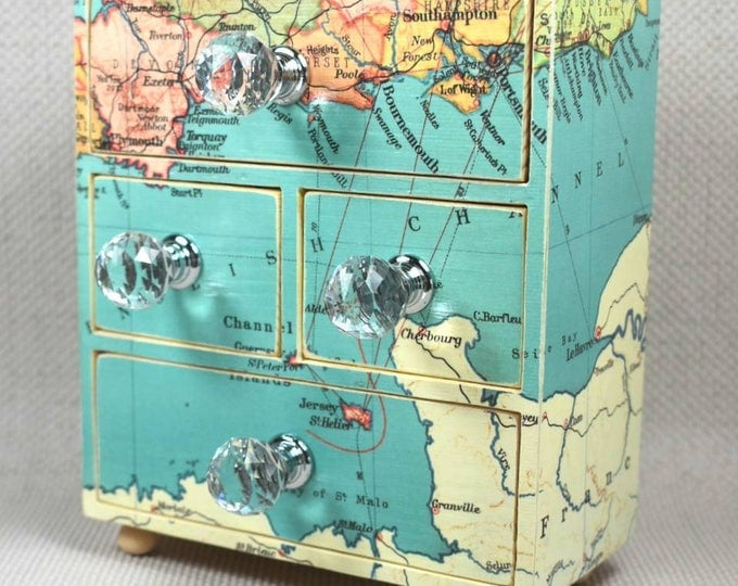 Featured listing image: Custom Map Jewellery mini Chest of Drawers