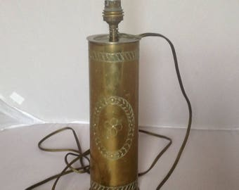 WW1 French  Artillary Shell Trench Art Lamp French Vintage Shell LAY BY AVAILABLE ( Ref no. A148 )