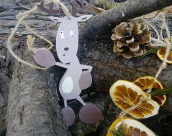 Christmas deer Wooden deer Christmas ornament Christmas tree décor Christmas gift Christmas children gift Rustic Christmas decoration