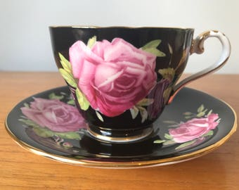 Black Aynsley Tea Cup and Saucer, Large Pink Roses Teacup and Saucer, Vintage Bone China, Collectible, Tea Party