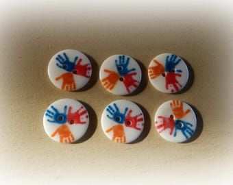 6 buttons round plexi hands colorful 20 mm