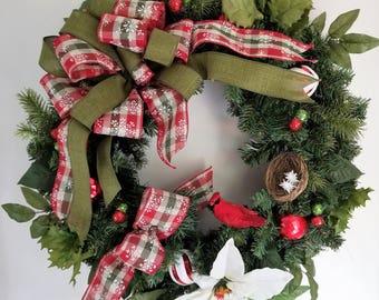 Country Front Door Christmas Wreath, Christmas Evergreen Wreath, Front Door Wreath, Outside Wreath, Cardinal Christmas Wreath, Holiday Decor