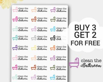 Clean the Bathroom Stickers, Planner Stickers, Label Stickers, Cleaning Stickers