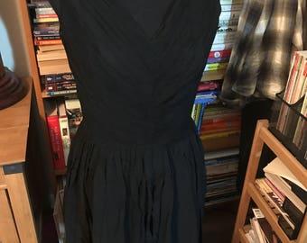 1950's/1960's Chiffon Pleated Bodice Sleeveless Party Dress