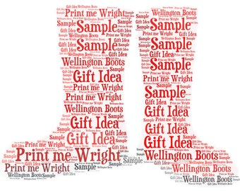 Personalised word art, Wellington boots digital image. Unique gift idea for any occasion