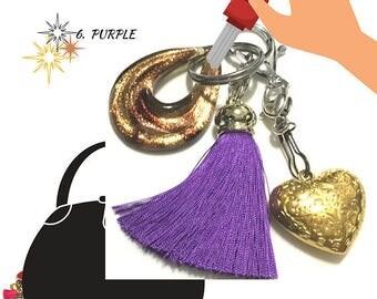 Purple Tassel Key Ring, Copper Bag Charm, Gold Heart Dangle, Variety Key Ring, On Trend Gift, Stylish Gift, Teacher Xmas Gift,