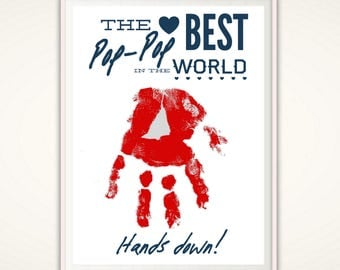 Fathers Day Gift for Pop Pop - Gifts for Pop Pop, PopPop Gifts, Personalized Present, PRINTABLE From Grandkids, DIY Handprint Art, DIGITAL