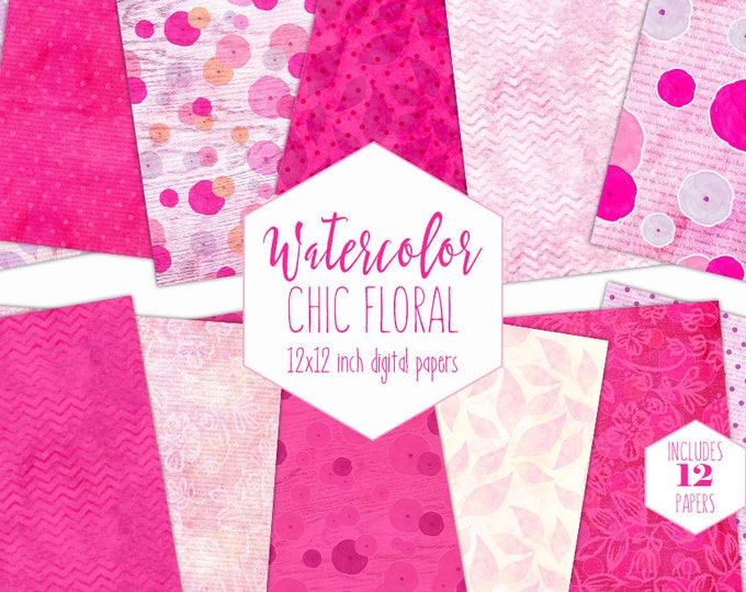 SHABBY CHIC FLOWER Digital Paper Pack Commercial Use Wood Backgrounds Hot Pink Watercolor Floral Scrapbook Paper Chevron Lace Dot Patterns