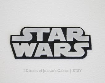 Star Wars Logo Fondant Cake Topper (White & black)