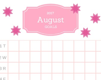 August 2017 Goals - Bullet Journal Pages