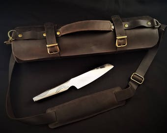 Brown Leather Knife Roll, Chef Leather Tool Bag, Gifts for Aspiring Cook, Culinary Butcher Gift for him, 3rd Anniversary, Knives Travel Bag