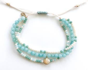 Blue Amazonite Summer Bracelet with 14K Gold Fill Sea Shell Charm