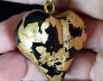 Polymer Clay and Gold Leaf Puffy Heart Pendant