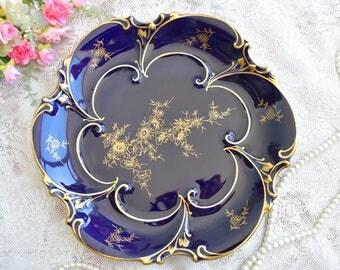 Vintage plate cobalt porcelain dish plate Bavaria Germany plate german floral porcelain dish
