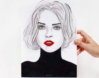 Art print business woman red lipstick