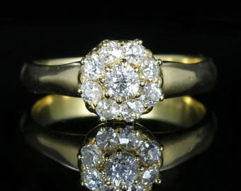 Antique Victorian Diamond Cluster Ring 18ct Yellow Gold Circa 1900