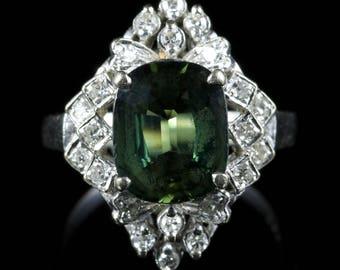 Green Sapphire Diamond Ring 18ct White Gold Rare 4ct Green Sapphire