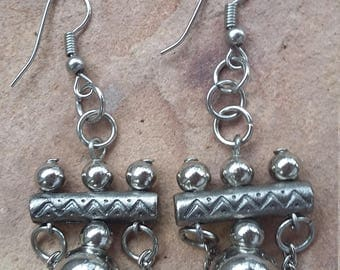 Gothic,steampunk,industrial,funky,trendy,modern,fashion,all metal,all silver,chunky,beaded,handmade,xmas, gift,new year,dangle drop,earrings