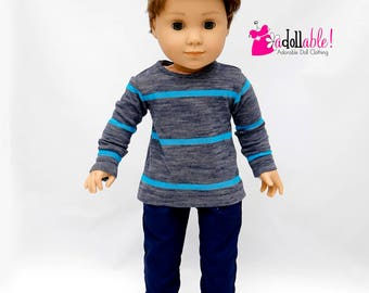 American made doll clothes, 18 inch Boy Doll Clothing, Turq/Navy Heather Top with Navy Pants, made to fit like American girl doll clothes
