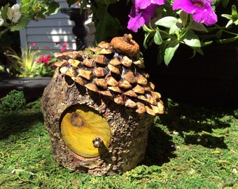 Crooked Mini Pixie Woodland Moss Green Fairy House with Pine Cone Shingle Roof